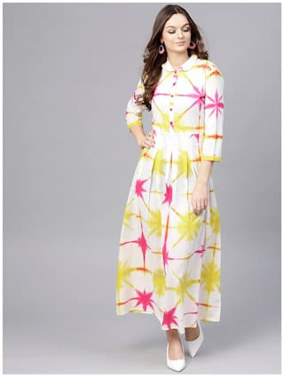 AASI- HOUSE OF NAYO Cotton Dyed Maxi Dress White