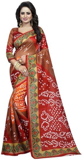 Ishin Multicolor Bhagalpuri Art Silk With blouse saree