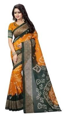 Multicolor Bhagalpuri Art Silk With blouse Saree