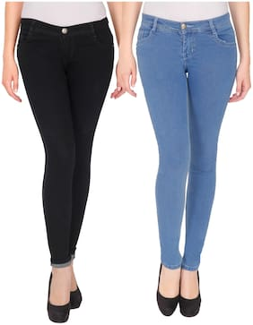 Multicolor, Fabulous Women Skinny Fit Mid-Rise Clean Look Stretchable Denim Jeans