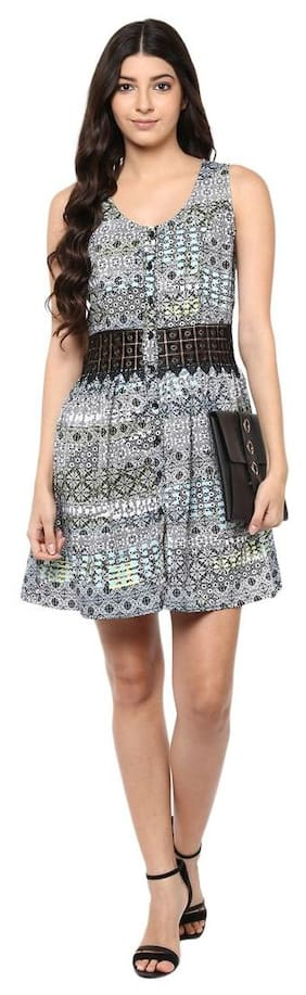 Multicolor Midriff  Lace panel print dress