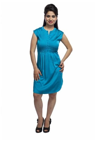Muse Couture Women's A-line Blue Dress