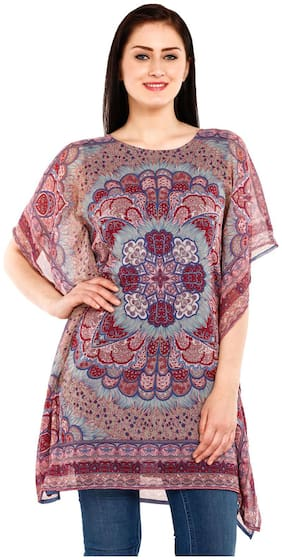MUSTARD Blue And Maroon Printed Kaftan
