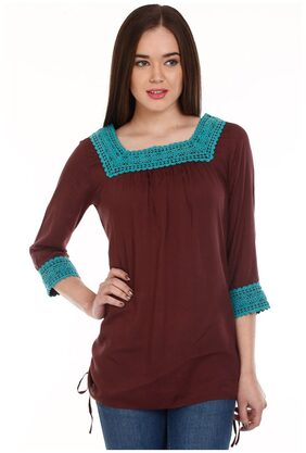 Mustard Brown Viscose Top (Size-M)