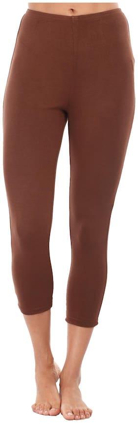 Mustard Brown Cotton Leggings (Size-L)