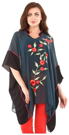 Mustard Dark Teal Poly Georgette Floral Tunic