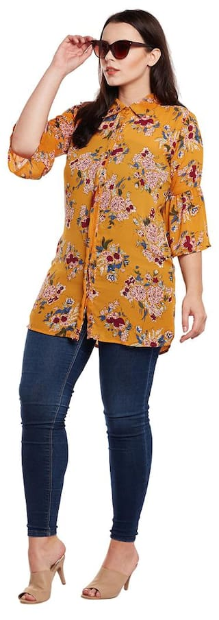 Shirt Bell Sleeves With Rayon Mustard A0vBW5T