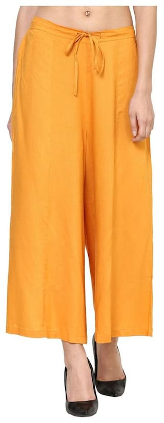 Mustered cotton ankle length flare palazzo
