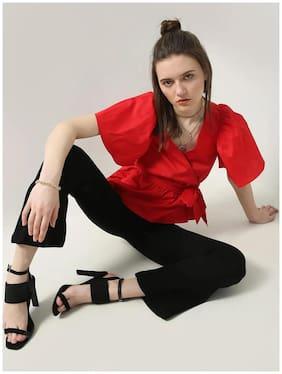 MWB Women Red Flared Sleeve Peplum Top