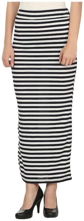 My Swag Blue & White Lycra Straight Stripe Casual Maxi Skirt