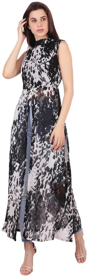 My Swag Georgette Printed Maxi Dress Black & White
