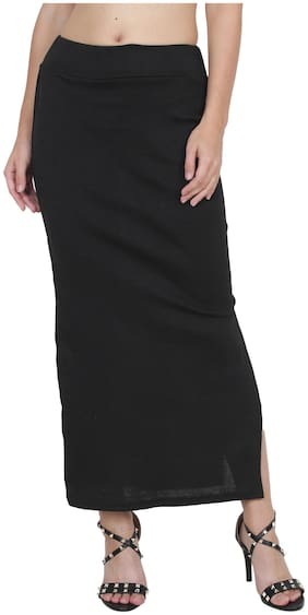 My Swag Solid Pencil skirt Maxi Skirt - Black