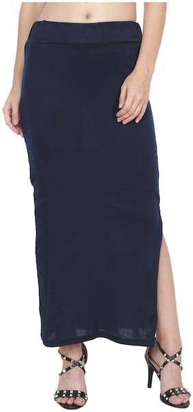 My Swag Solid Pencil skirt Maxi Skirt - Navy