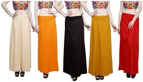 MY TRUST PE-18 Women Cotton Plain Inskirt Saree petticoats Size Free Light Baige;Orange;Coca Cola;Mustard;Red