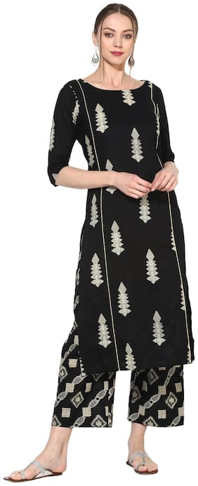 Myshka Women Black Printed Straight Kurta