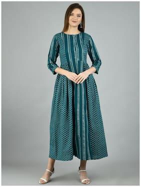 Myshka Green Printed Maxi dress