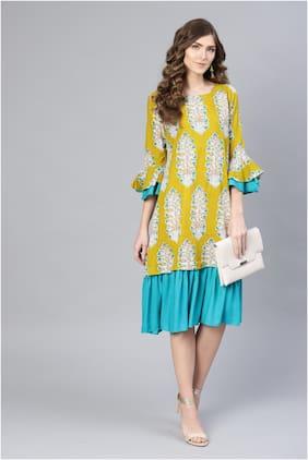 Myshka Yellow Printed Fit & flare dress