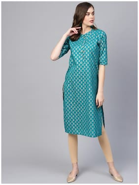 Myshka Women Green Printed Straight Kurta