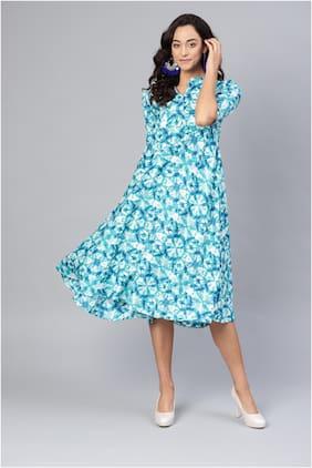 Myshka Blue Printed Fit & flare dress