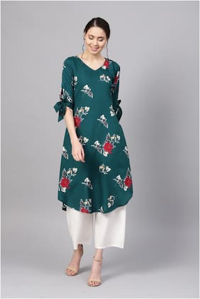 Myshka Women Green Floral Straight Kurta