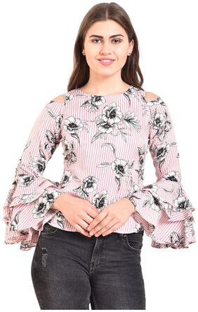 Myshka Women Printed A-line Top - Pink