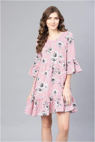 Myshka Black Printed Fit & flare dress