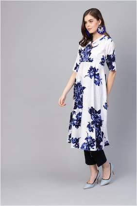 Myshka Women White Floral Straight Kurta
