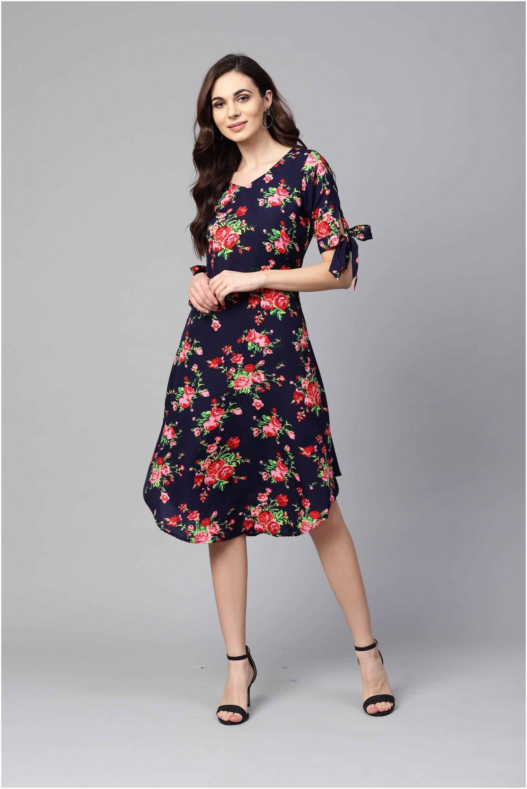 Myshka Polyester Party Midi Fit & Flare Dress Multi