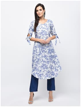Myshka Women Blue Floral Straight Kurta