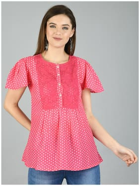 Myshka Women Polka dots Regular top - Pink