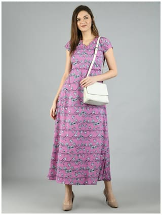 Myshka Purple Floral Maxi dress