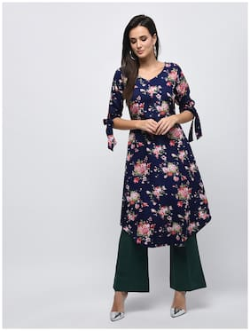 Myshka Women Navy Blue Floral Straight Kurta