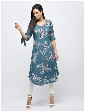 Myshka Polyester Printed A-line Dress Blue