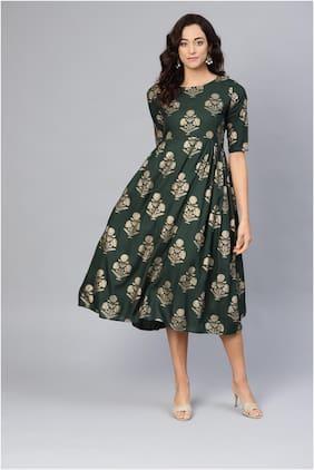 Myshka Green Floral Fit & flare dress