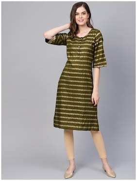 Myshka Rayon Striped Women Green Kurta
