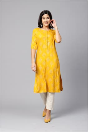 Myshka Women Yellow Printed Straight Kurta