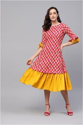 Myshka Pink Floral Fit & flare dress