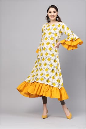Myshka Rayon Printed Women Yellow Kurta