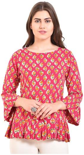 Myshka Women Rayon Printed - A-line top Pink