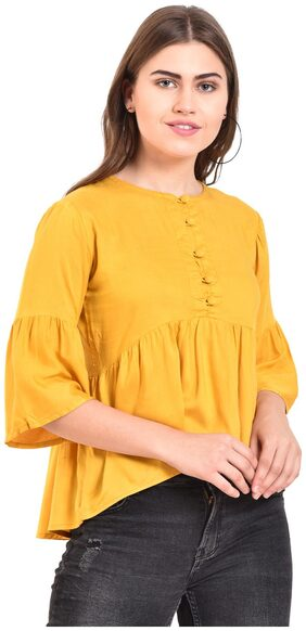Myshka Women Solid A-line Top - Yellow