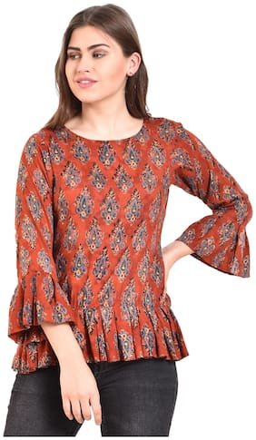 Myshka Women Rayon Printed - A-line Top Multi