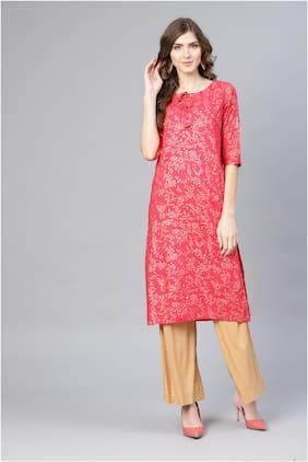 Myshka Pink Printed Fit & flare dress