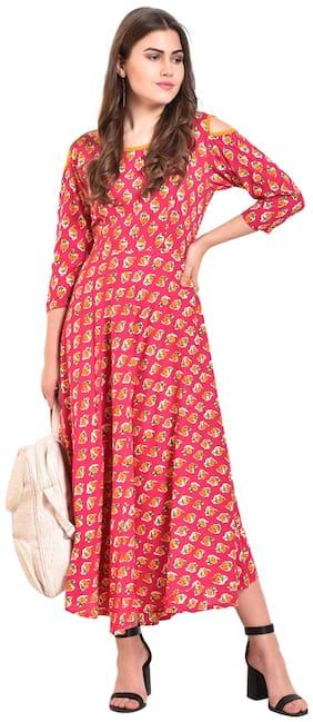 Myshka Women Rayon Printed A line Kurti - Pink