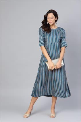 Myshka Black Solid Fit & flare dress