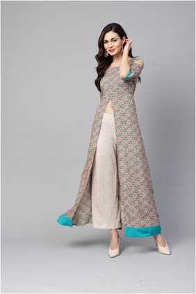 Myshka Women Grey Floral Straight Kurta