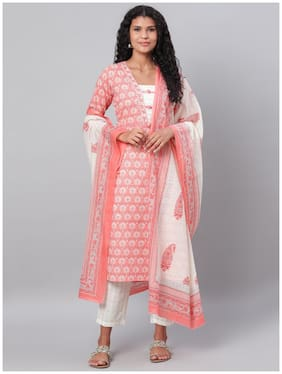 Myshka Women Pink Floral Straight Kurta With Pants And Dupatta