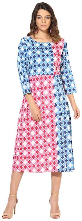 Myshka Women Blue&Pink Cotton Printed 3/4 Sleeve A-Line Kurti