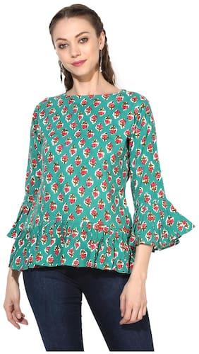 Myshka Women Viscose Floral - Peplum Top Green