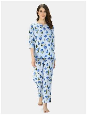 Myshka Women's BLue Cotton Printed Half Sleeve V Neck Casual Night Suit