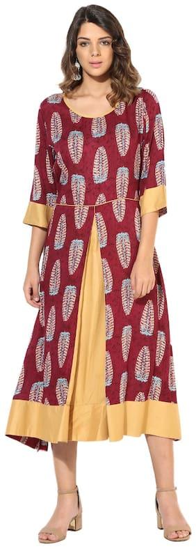 Myshka Women Beige & Mehroon Rayon Printed 3/4 Sleeve A-Line Kurti